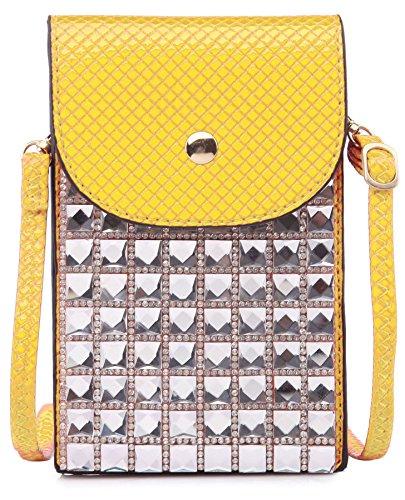 BHBS Cartera para Cruzar tipo Mensajero e Ideal para el Teléfono Móvil con Detalle de Cristales Cuadrados 11x17 cm (LxA) Amarillo