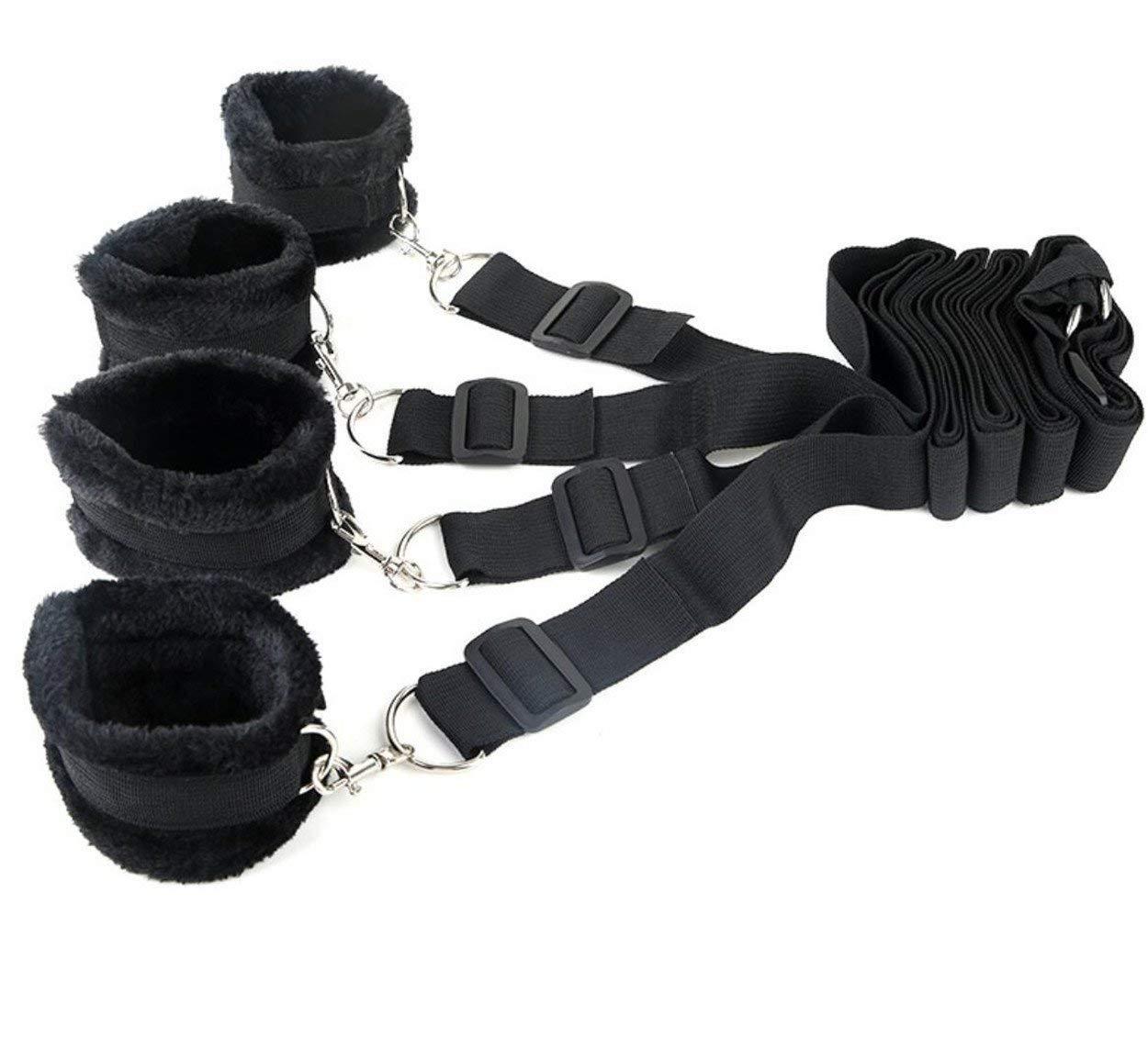 My's baby Whuql Negro Bajo Sistema de sujeción puños de esclavitud de Cama con puños sujeción de Mano Colección de esclavitud de puño de Tobillo para Pareja de Hombres SM cf5c43