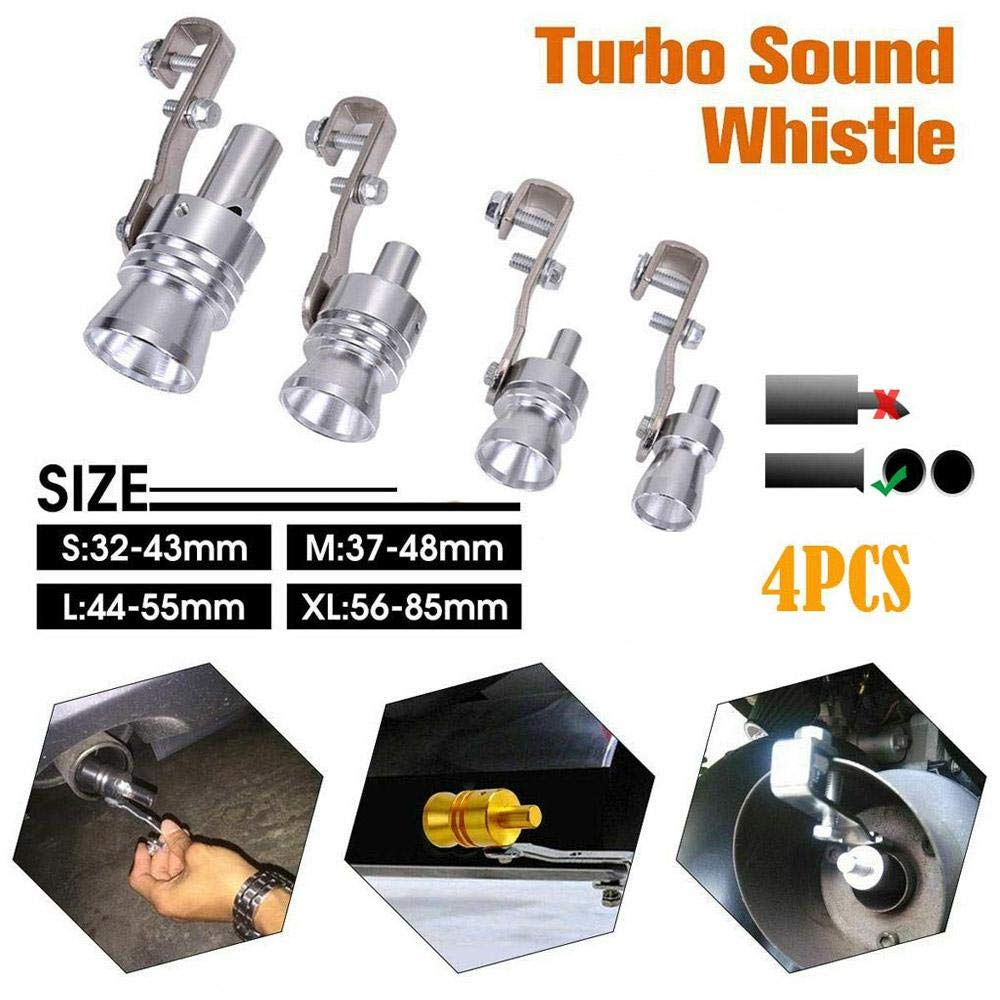 Dokfin Auto Exhaust Sound Whistle Maker 4 Pack, Silver Aluminum Turbo Sound Whistle S//L//M//XL Exhaust Pipe Oversized Roar Maker Pipe Loud Whistle Sound Maker