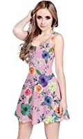 Vestito da donna Cowcow, estivo, con stampa floreale a rosa, senza maniche, modello skater