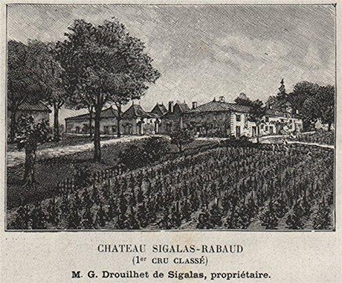 Grands VINS Blancs. BOMMES. Chateau Sigalas-Rabaud (1er Cru Classé). Small - 1908 - Old Print - Antique Print - Vintage Print - Printed Prints of Gironde