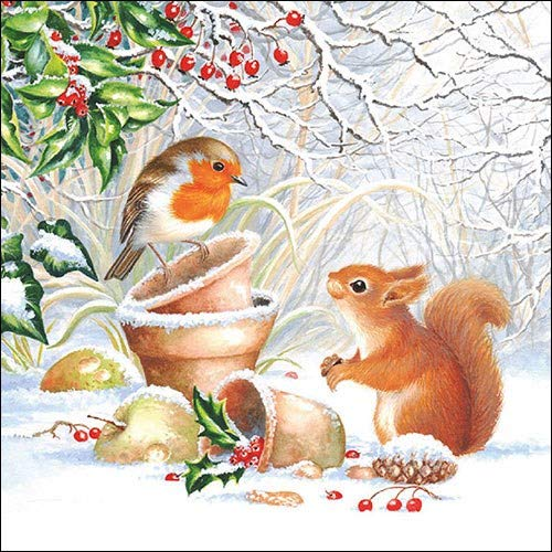 4 Individual Napkins for Craft /& Napkin Art. Winter Picture 33 x 33cm 3-ply 4 Paper Napkins for Decoupage