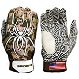 2016 Spiderz HYBRID Desert Camo Baseball/Softball Batting Gloves w/Spider Web Grip and Protective Top Hand in Adult & Youth Sizes - Professional (PRO) Quality... (Adult L)