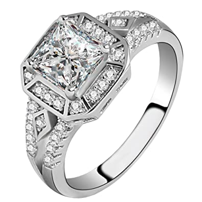 Review FENDINA Women's Vintage 1.5ct 18K White Gold Plated Princess Cut CZ Stone Anniversary Bridal Wedding Band Engagement Ring Promise Rings for Her