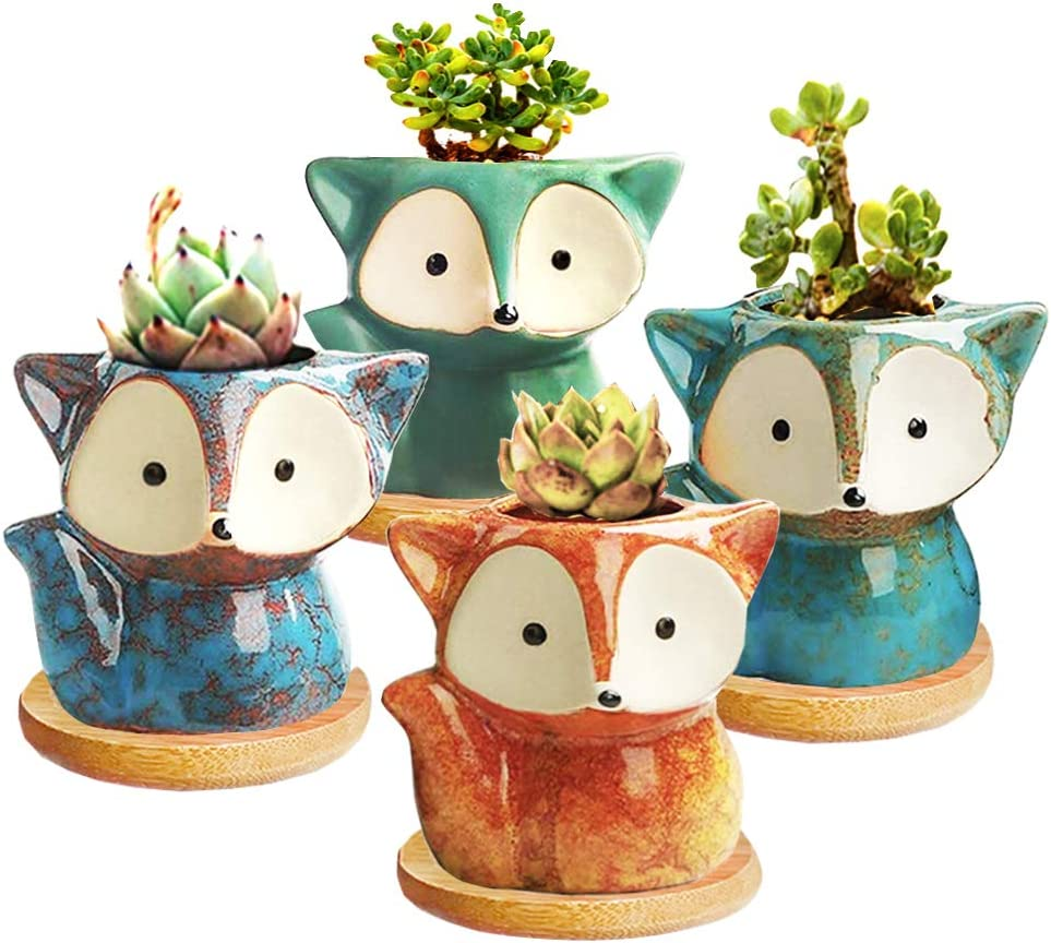 Succulent Pots Ceramic Flower Planter Pot With Bamboo Tray Small Animal Succulent Planters Cute Cactus Flower Pot Garden Planters Office Home Decoration Pack Of 4 Garden Outdoor