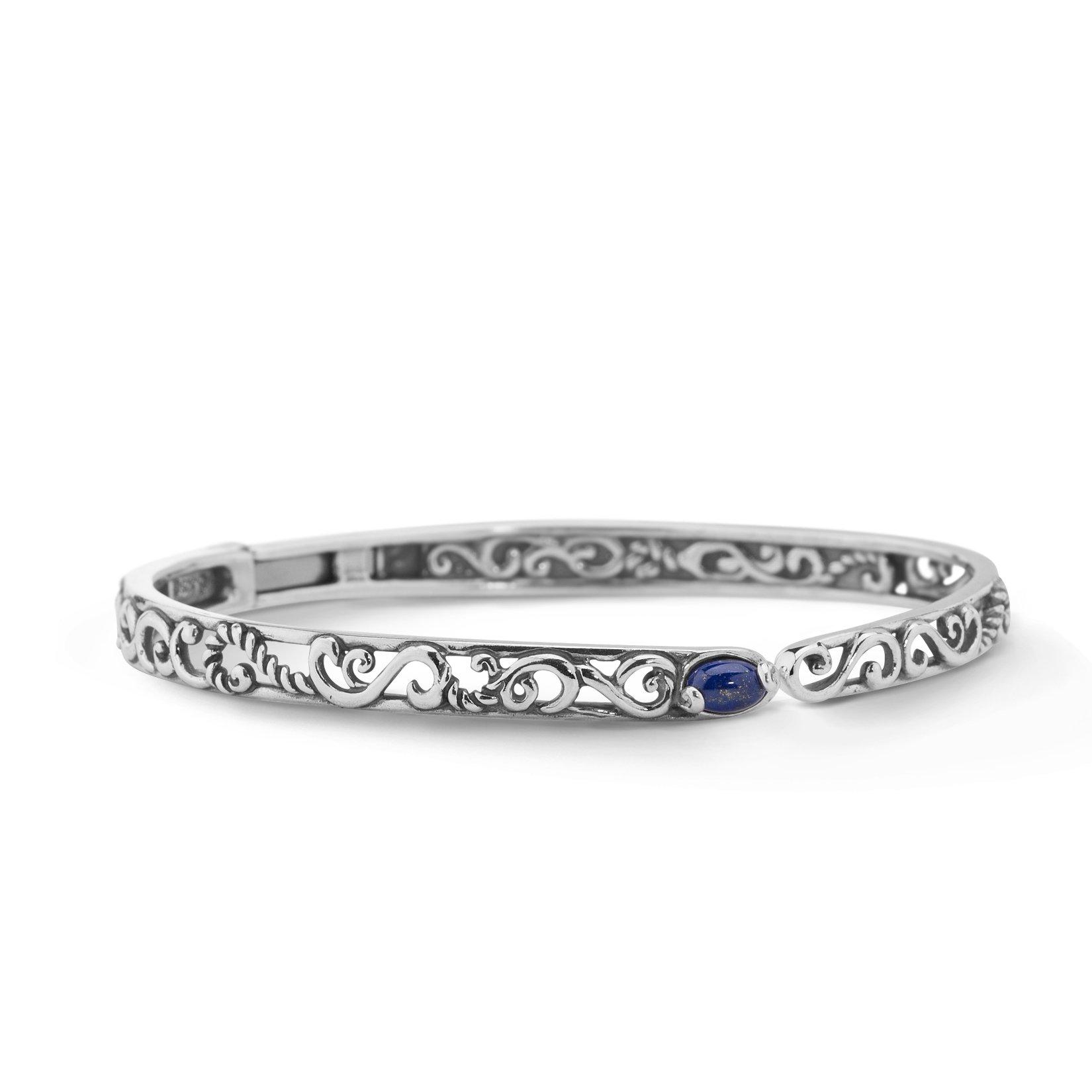 Carolyn Pollack Genuine .925 Sterling Silver Blue Lapis Hinged Cuff Bracelet by Carolyn Pollack