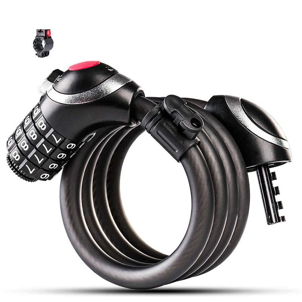 KOBWA Bike Cable Lock, Bicycle Chain Lock 4ft Bike Locks Resettable Combination Cable Anti-theft Bike Lock with Mounting Bracket, 1/2 Inch Diameter, Black by KOBWA (Image #1)
