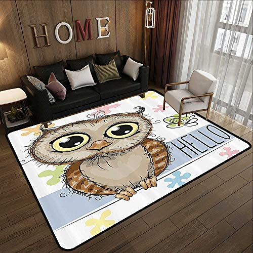 Low-Profile Mats,Owl Kids,Cartoon Animal Butterfly on Floral Background with Hello Message Colorful Daisies Print,Multicolor 47