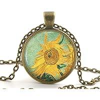 Van Gogh Sunflower Necklace Pendant, Yellow Sun Flower Painting Art Gifts For Women