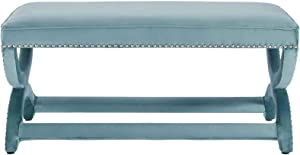 Modway Expound Performance Velvet Upholstered Nailhead Trim Accent Entryway Bench in Sea Blue