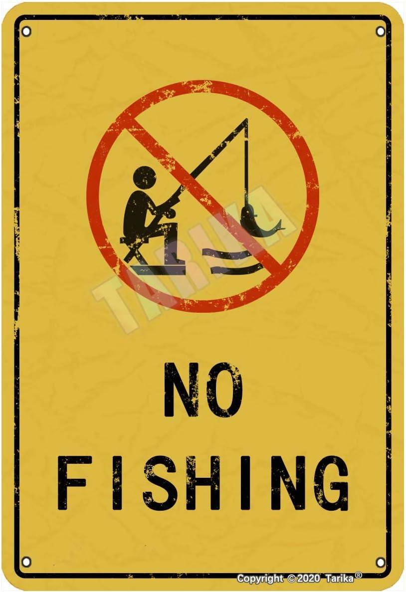 No Fishing Warning Precaution For Lake, Playa, Piscina, Casa, Exterior, Club, Bares, Pubs Metal Vintage Tin Sign Decoración de pared 30,5 x 20,3 cm