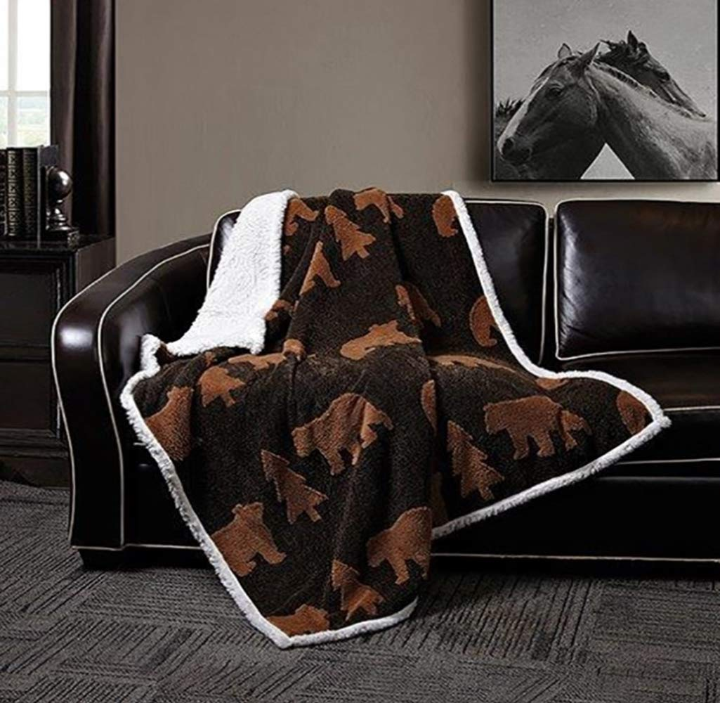 Virah Bella Black Brown Bear by Phyllis Dobbs Jacquard Fleece Sherpa Back Throw Blanket
