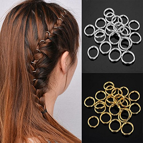 (80 Pieces Hair Clip Rings Decorations, Braid Hair Loop Headband Accessories, Gold/Sliver)