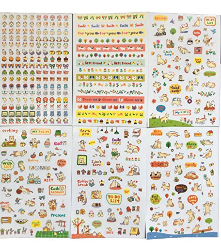 CHQ 6 Sheets Lovely Cat Decorative Sticker - Scrapbooking Diary, Album Phone Sticker, little girl S026