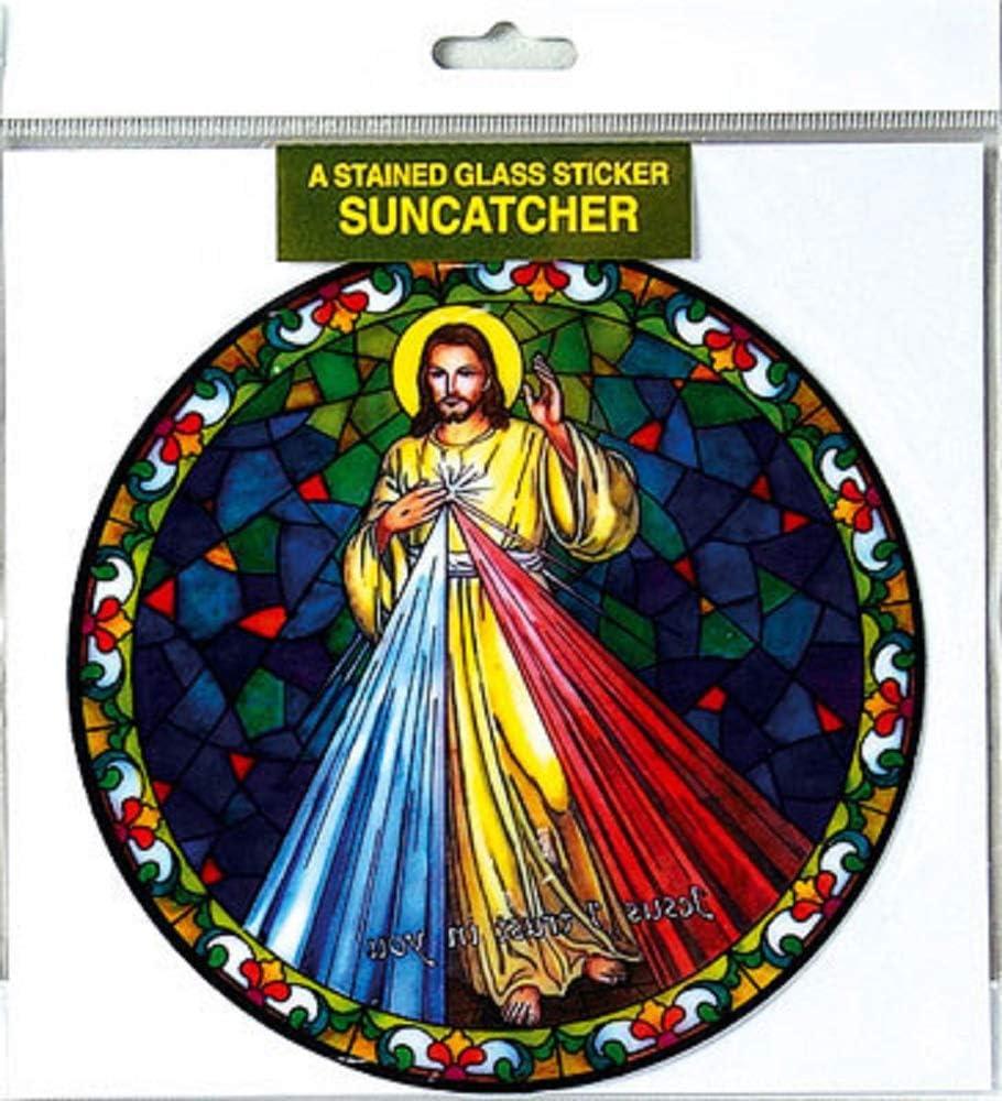 Autocollant pour verre et fen/être en suncatcher color/é et r/éutilisable de 15.24 cm avec motif vierge marie