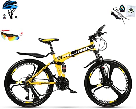 Bicicletas De Montaña para Hombre Y Mujer 30 Velocidades Bicicleta Montaña 26 Pulgadas Marco De Acero De Alto Carbono MTB con Suspensión Y Doble Freno De Disco Bicicleta Plegable,Amarillo: Amazon.es: Deportes y