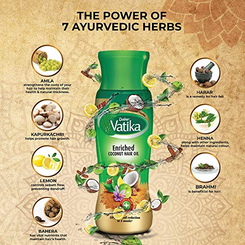 Vatika Enriched Coconut Hair Oil , 450 ml - Clinically Tested to Reduce 50% Hairfall in 4 Weeks