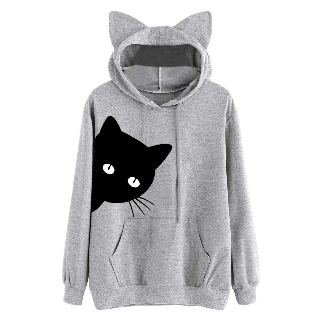 ✔ Hypothesis_X ☎ Women's Long Sleeve Loose Pockets Cute Cat Print Ear Pullover Hoodie Sweatshirt Gray by ✔ Hypothesis_X ☎ Top