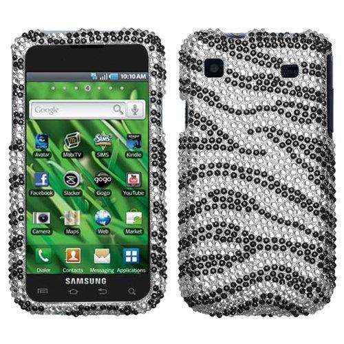 Samsung T959 I9000 Vibrant, Galaxy S Hard Plastic Snap on Cover Black Zebra Skin Full Diamond/Rhinestone T-Mobile