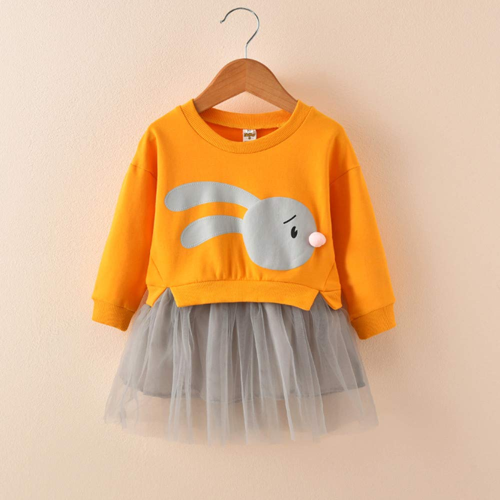 Pollyhb Dress for Girls,Baby Girl Cartoon Bunny Patchwork Tulle Dress Princess