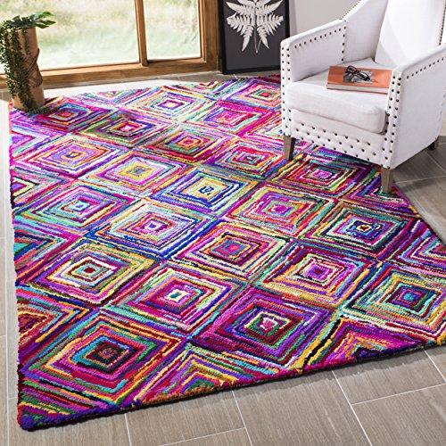 Safavieh NAN317A-8SQ Nantucket Collection Handmade Abstract Geometric Diamond Cotton Area Rug, 8' Square, Multicolored