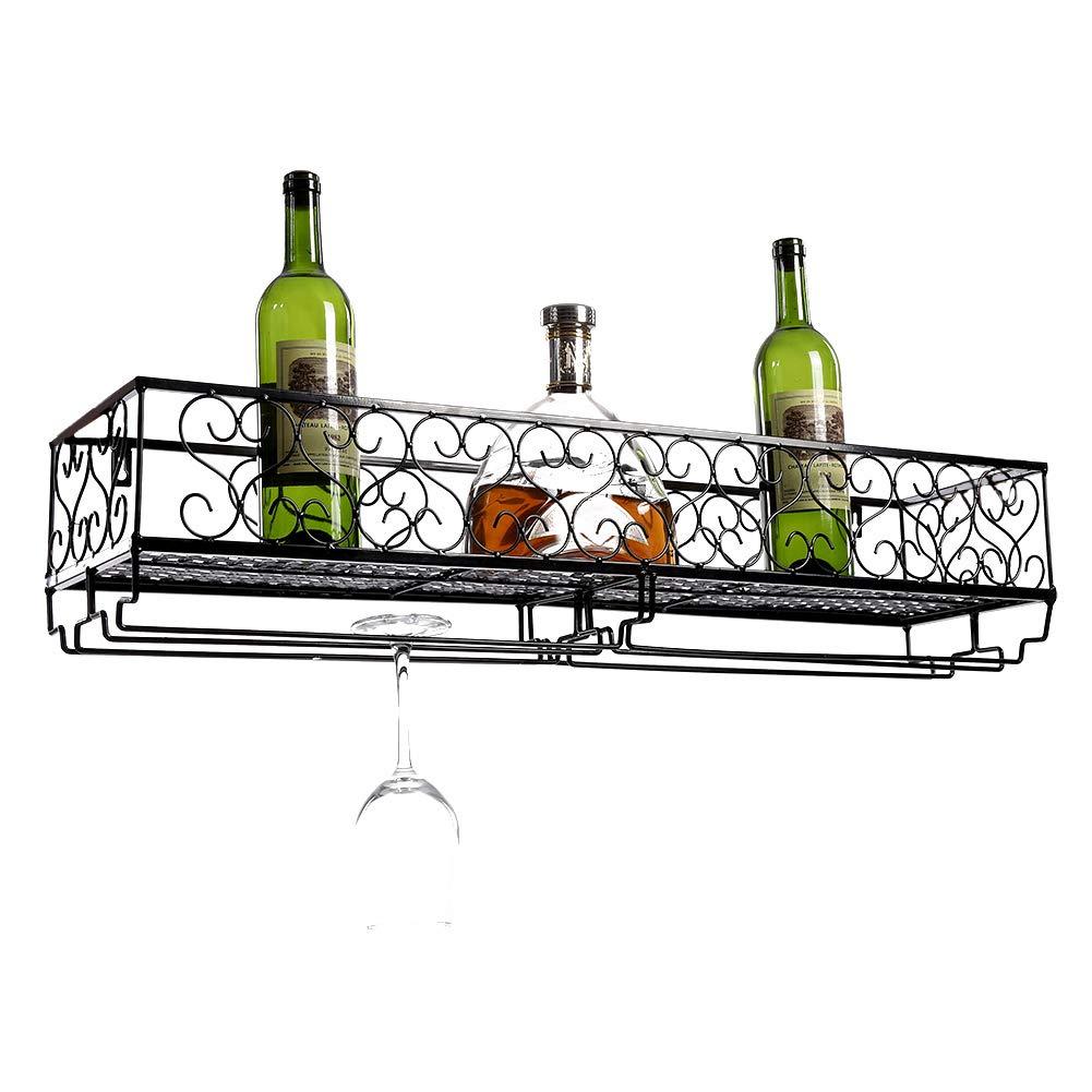 white SOULONG Wall Mounted Metal Wine Rack 25 x 17 x 10cm
