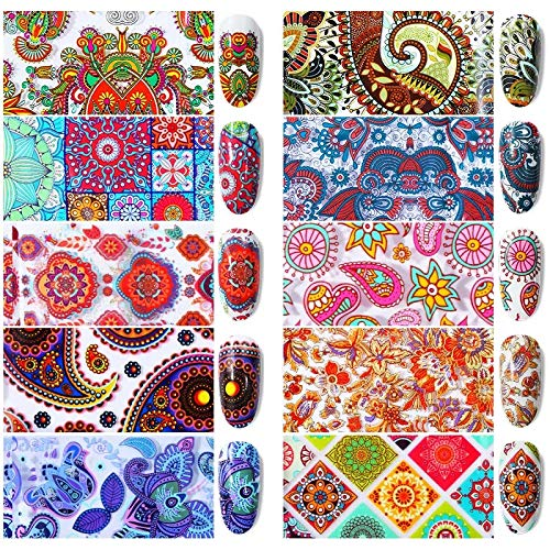 10 sheets Modern Boho Mandala Mehndi paisley floral NAIL FOILS Native American Indian bindi dreamcatcher tassel NAIL DECAL gods eye sanskrit Hindu decor nail tattoo nail vinyl French tip kit (1 MM) ()
