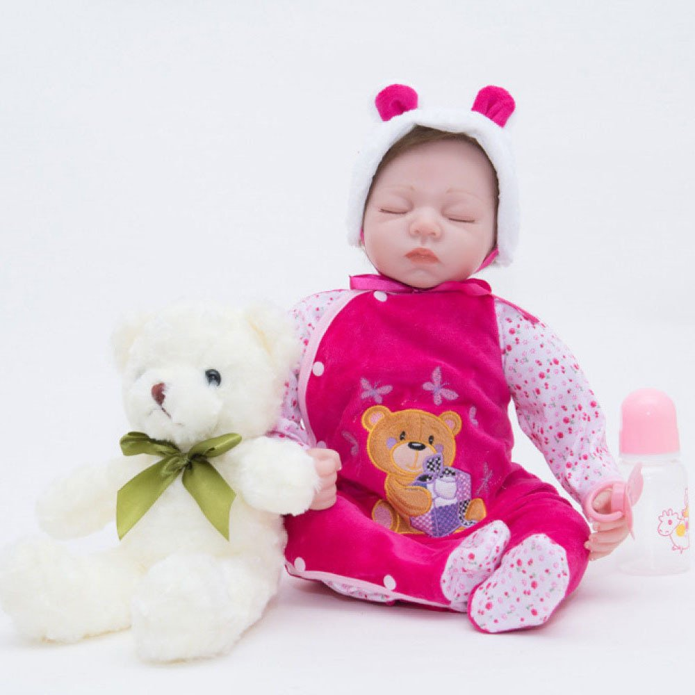 QXMEI Hübsche Puppe Baby Neugeborenen Silikon Realistische Handwerk Puppen Mit Kleidung Der Beste Geburtstagsgeschenk, 55cm  55cm