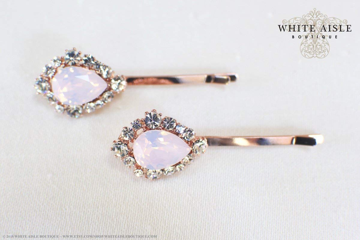 Amazon com: Blush Pink Rose Gold Bridal Hair Pins Wedding