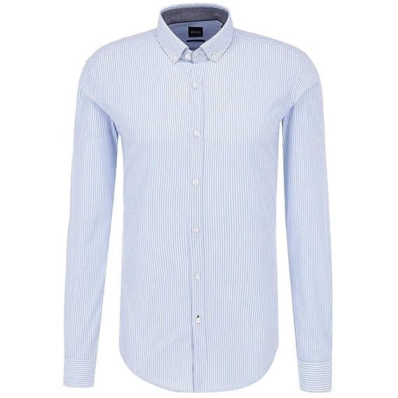 1462de9fa BOSS Hugo Rikard 53 Long Sleeve Striped Shirt Blue 450 50395301:  Amazon.co.uk: Clothing