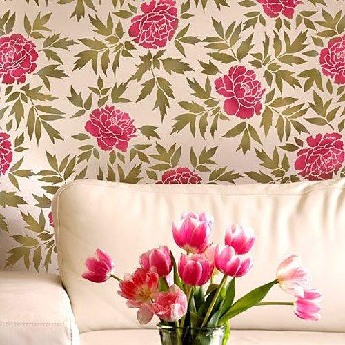 Japanese Peonies Floral Pattern Stencil