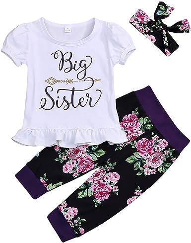 Toddler Girls Sister Floral Pants Set Kids Baby Big Sister Short Sleeve Top Shirt+Floral Long Pants+Headband Outfits