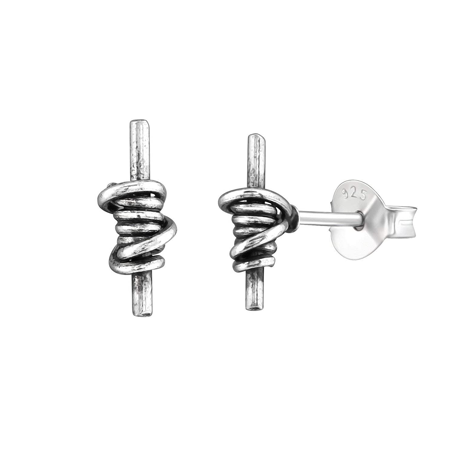 925 Sterling Silver Antique Stick Knot Stud Earring