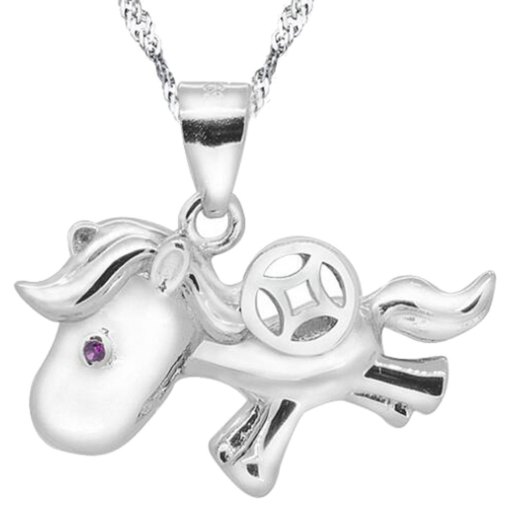 925 Sterling Silver Cute Little Horse Necklace Big Coin Pendant Princess Jewelry for Girls Women