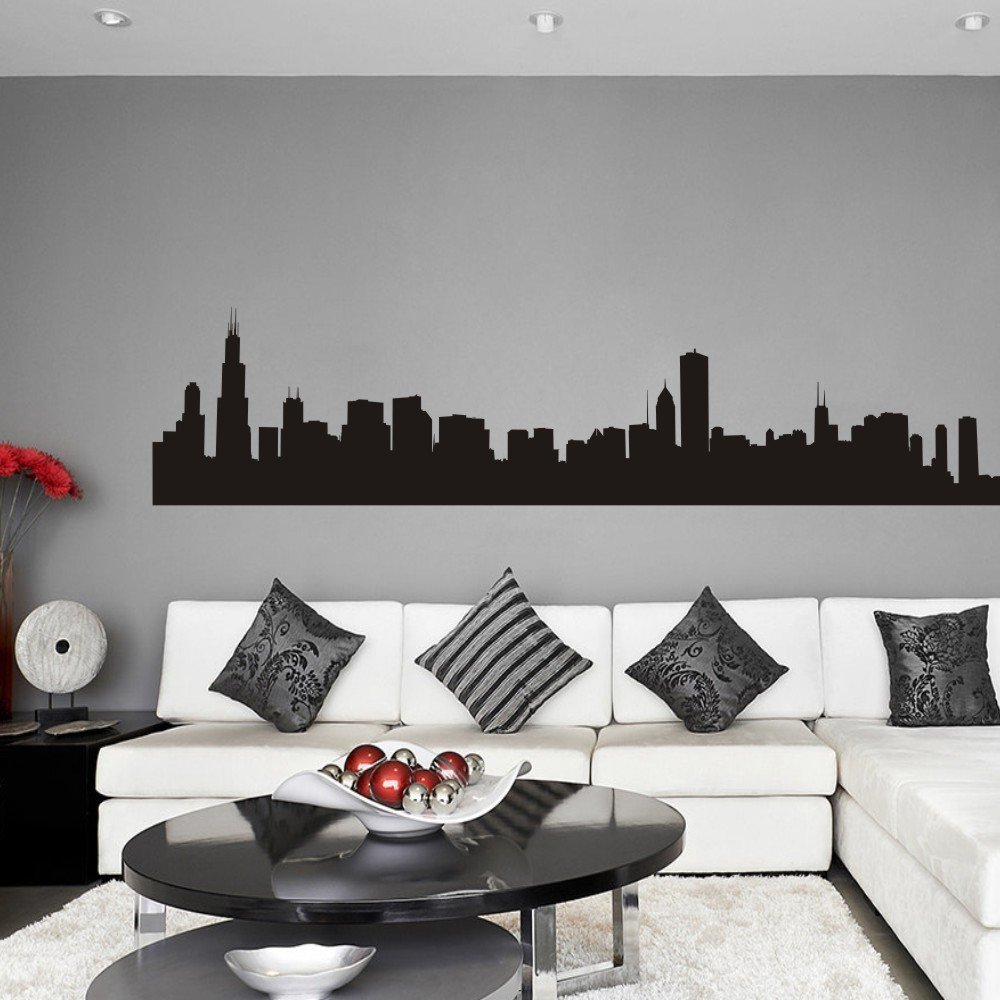 amazon com vinyl chicago wall decal chicago city wall decor amazon com vinyl chicago wall decal chicago city wall decor chicago skyline wall sticker wall mural wall graphic living room wall decor black home