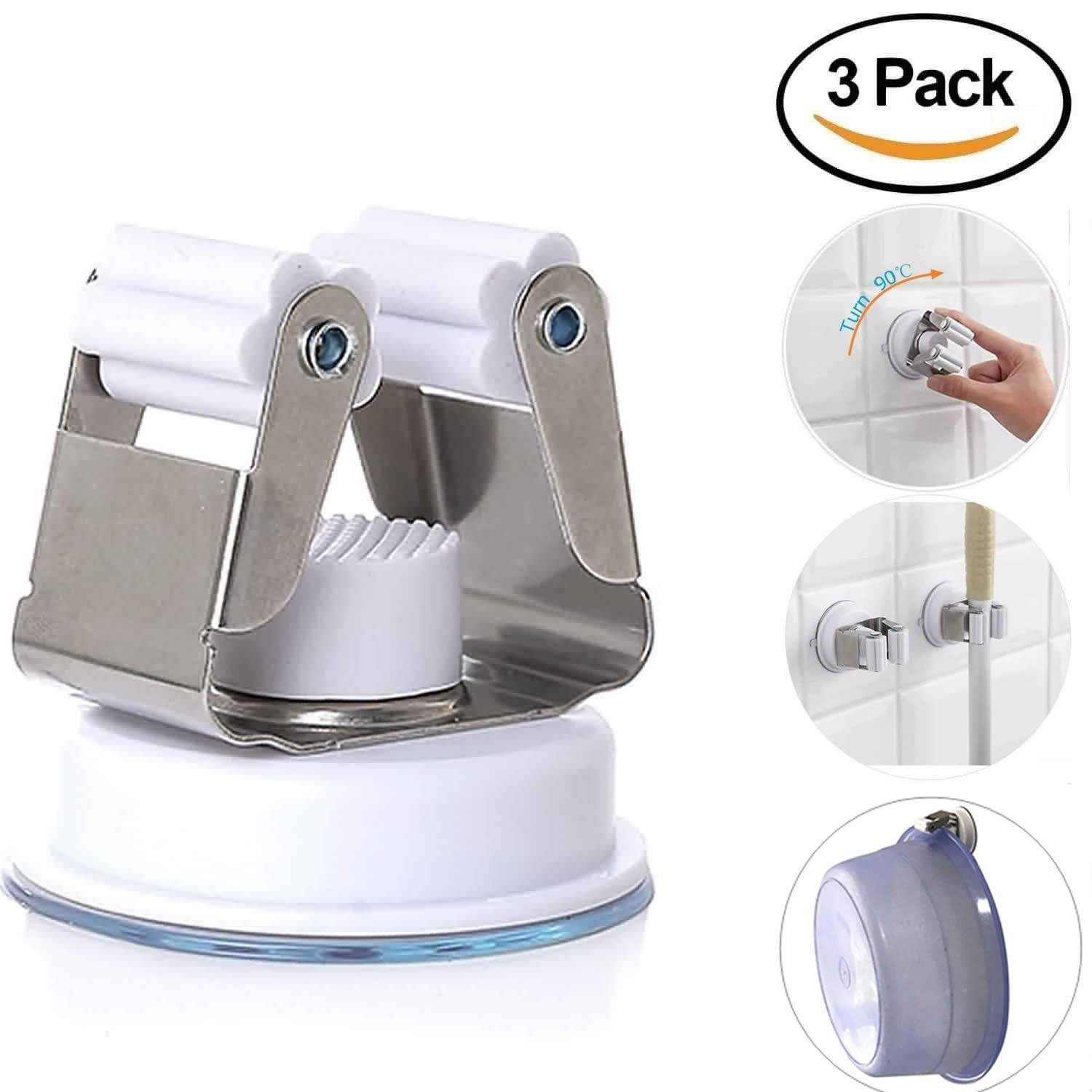 (3 Pack) Multifunction Heavy Duty Suction Cup Hooks Real 304 Stainless Steel - Home Kitchen Bathroom Restroom Office for Umbrella, Basin, Mop, Broom, Dustpan, Shower, by Sonkoo