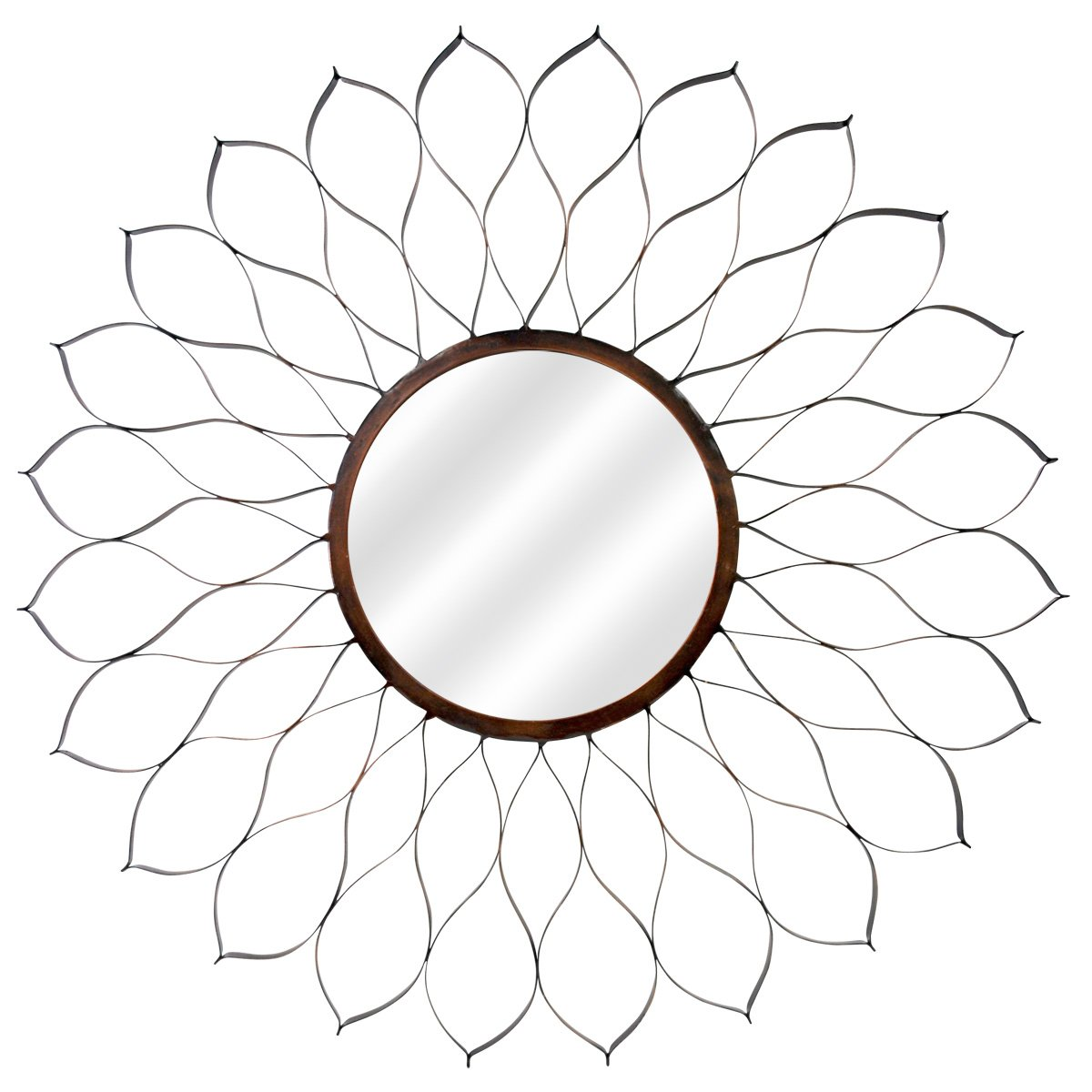 MCS 24-Inch Round Metal Dahlia Mirror Body with 9-Inch Mirror, Oil Rubbed Bronze 72465