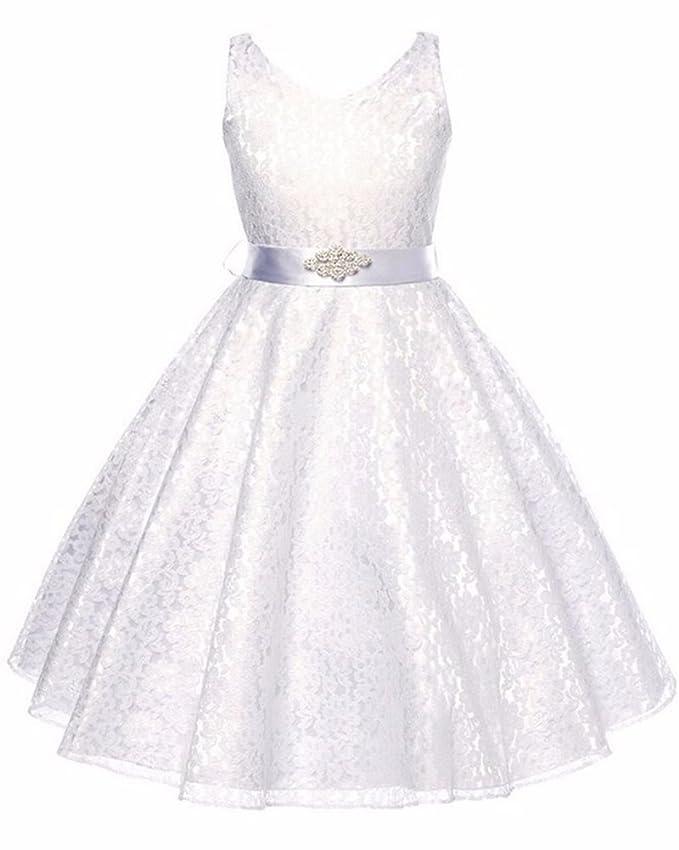 b047498c8565 Bambine Matrimonio Abiti da Damigella Cerimonia Senza Maniche Compleanno  Partito Bimba Comunione Vestiti Abito  Amazon.it  Abbigliamento