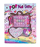 Hot Focus Pop Nail Glitz - 3D Unicorn Nail Art Kit for Girls - 65 Piece Set Includes 3D Press on Nails, Nail Stickers, Nail File and Ring