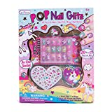Hot Focus Pop Nail Glitz - 3D Unicorn Nail Art Kit for Girls - 65 Piece Set Includes 3D Press on Nails Nail Stickers Nail File and Ring