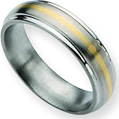 Titanium 14K Gold 5mm Mens Wedding Ring Band Size 13