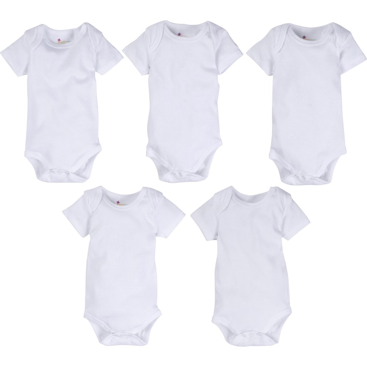 MiracleWear 5-Pack Neutral Unisex Solid White Infant Low Cost Bodysuit/Rompers for Boy Girl Baby