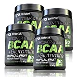 4 Pack Perfotek BCAA + GLUTAMINE Amino Acids Powder - Tropical Fruit Natural Protein Mix Drink for Muscles - 120 servings