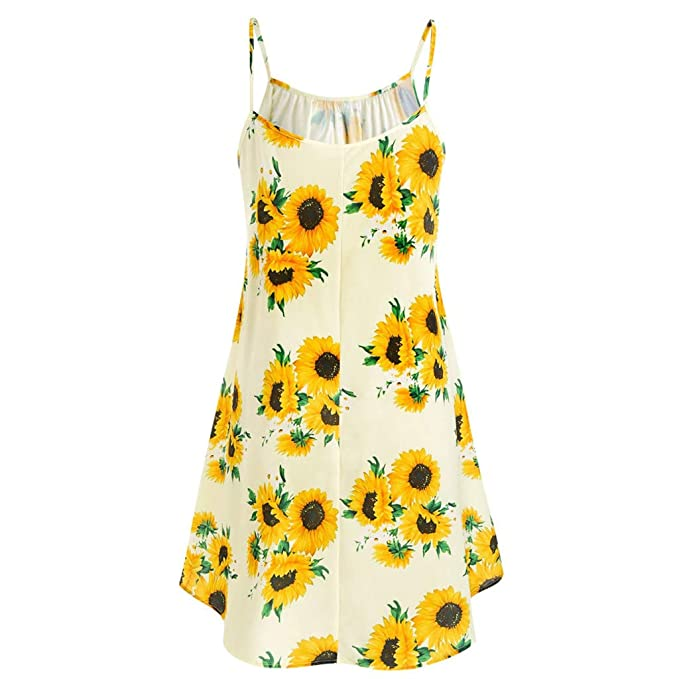 HHmei Women Casual Summer Cami Flower Dress with Crop T-Shirt