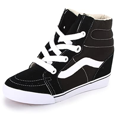 Vans Sk8-Hi Wedge UDH6BT Womens Laced Suede   Canvas Wedge Trainers Black  White - 5  Amazon.co.uk  Shoes   Bags 3c814b10b9