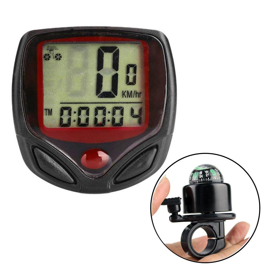ezyoutdoor Bike Computer- Bike Bell- Waterproof Wired Bicycle Speedometer Odometer Leisure 14 Functions LCD Display MTB Bicycle Computers Cycling Functional Bicycle Odometer