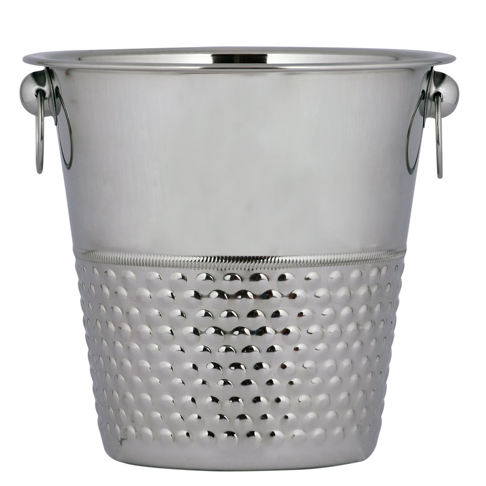 Kosma Designer Champagne Bucket Stainless Steel | Wine Ice Bucket | Bottle Cooler | Beverage Bucket in Bubble Effect - 21 x 21cm (4 Quart)