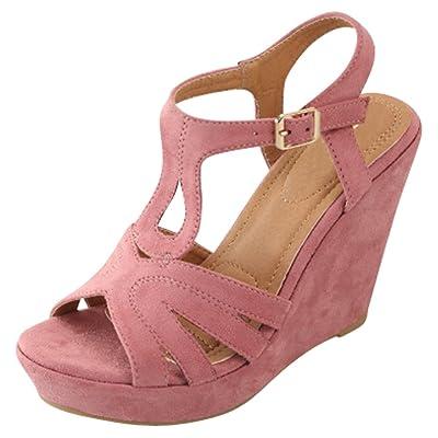 Cambridge Select Women's Open Toe T-Strap Ankle Platform Wedge Sandal: Shoes