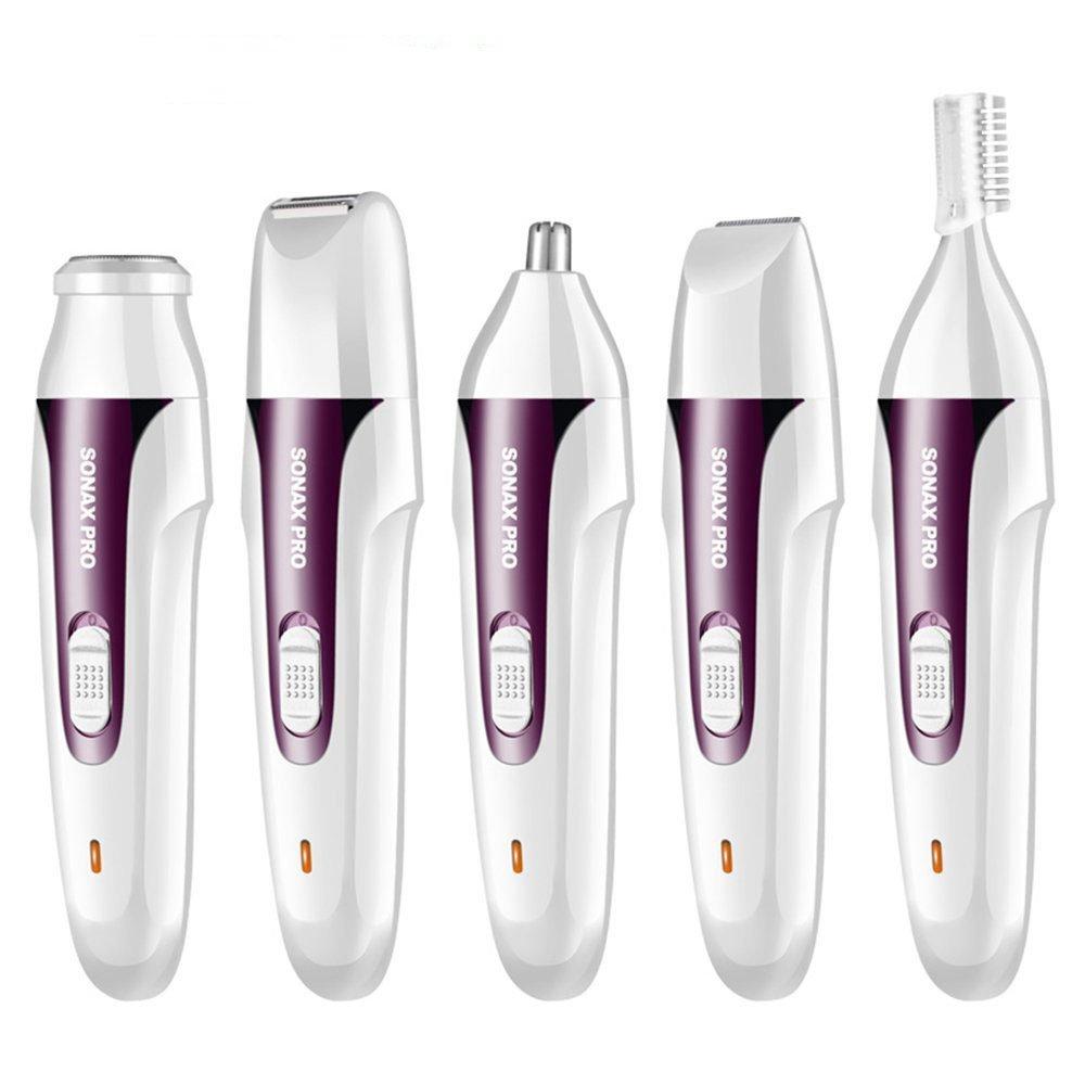 XINCARE Afeitadoras Eléctricas para Mujer y Hombres, 5 en 1 USB Recargable Impermeable Depilación Facial Cortapelos de Cuerpo y Precisión, Afeitador Multifunción Portátil para Nariz/Bikini/Facial/Labio/Axilas/Barba/Ceja, Seco y Húmedo - Rosa