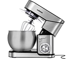 Stand Mixer, CUSIMAX 6.5QT Stainless Steel Mixer 6-Speeds Tilt-Head Dough Mixers for Baking with Dough Hook, Wire Whisk & Fla
